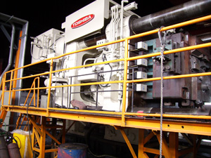 2,500 ton aluminum die casting machine (make: Toshiba)